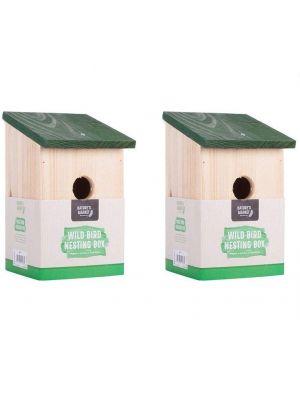 Pack of 2 Wooden Nesting Nest Box Bird House Small Birds Blue Tit Robin Sparrow