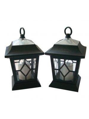 2 x Solar Powered Flickering Hanging Candle Lanterns