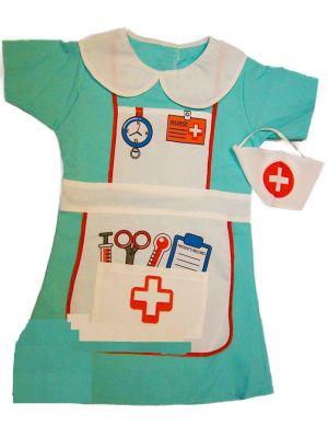 Girls Nurse Fancy Dress Childrens Kids Costume Hospital Uniform Childs Outfit[Nurse Dress 3-5]