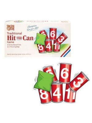 Hit The Can Alley Game Family Indoor Outdoor 10 Tins 3 Bean Bags