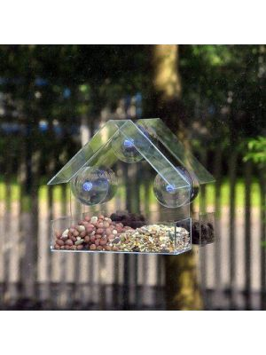 Kingfisher Plastic Window Mounted Bird Feeder Hanging Suction