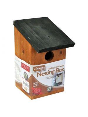Kingfisher Traditional Wooden Nest Nesting Bird Box for Wild Bird Watching