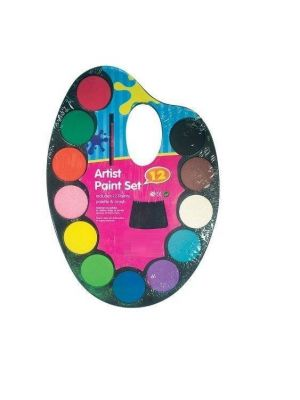 Kids Childrens Watercolour Paint Set Palette 12 Colours With Brush Art & Craft