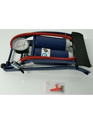 Double Cylinder Foot Pump With Pressure Gauge For Cars Bikes