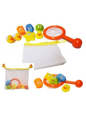 Bath Time Play Set Storage Net Tidy Bag Fishing Game Squrter Rubber Duck Toy