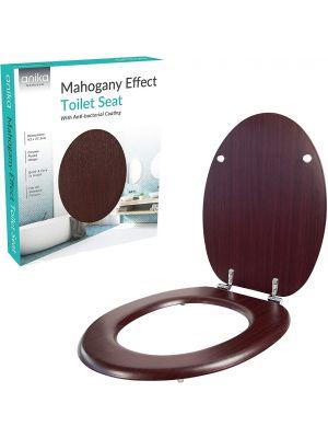 Toilet Seat Mahogany Effect Anti Bacterial Coating Chrome Hinges, 43cm x 37.5cm