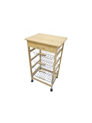 4 Tier Bamboo Fruit & Vegetable Wire Kitchen Storage Trolley with Top Drawer