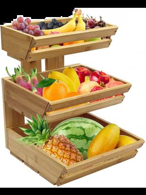 3-Tier Bamboo Countertop Fruit Basket Holder Bamboo Fruit Vegetable Storage