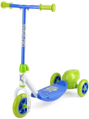 Kid's Lightweight 3 Wheels Push Kick Ride Scooter with Bubble Blower Blue