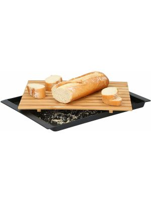 Bamboo Bread Cutting Chopping Board with Crumb Catcher Tray 38cm x 27cm x 2cm Bamboo Wooden Bread Baguette Slicing Board with Collector Removable Tray