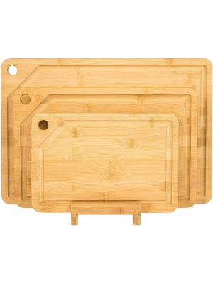 Unibos Set Of 3 Bamboo Cutting Board With Stand Antibacterial Serving Chopping Board With Juice Grooves