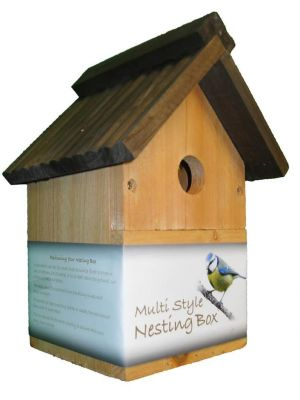 Traditional Wooden Multi-Style Nesting Box Bird House Small Birds Blue Tit Robin Sparrow