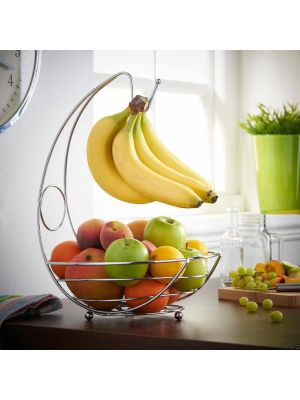 2 in 1 Chrome Banana Hook Hanger Tree Fruit Bowl Basket Stand Apple Orange and Many Other Fruits