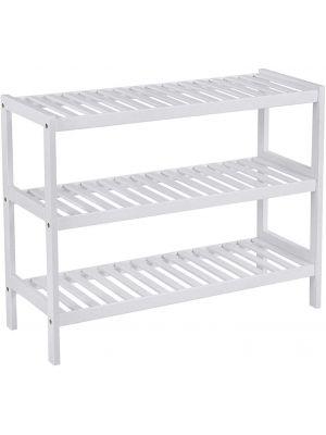 3 Tier Natural White Bamboo Shoe Rack Stand Holder Storage Shelf Unit Organiser