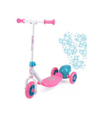 Kid's Lightweight 3 Wheels Push Kick Ride Scooter with Bubble Blower Pink