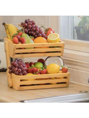 2 Tier Bamboo Fruit Basket Bowl Holder, Vegetable Egg Bread Storage Bowl Basket Holder for Kitchen Countertop, Home Decorative Storage