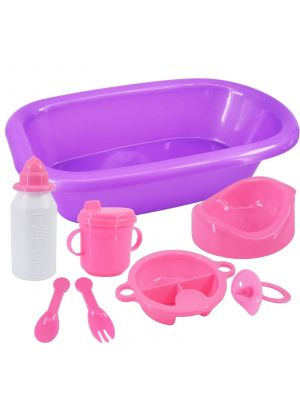 Baby Doll Bathing And Feeding Set - With Bath, Milk Bottle, Cup, Potty, Dummy