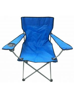 Blue & Black Captains Chair With Cup Holder Camping Beach Captains Chair