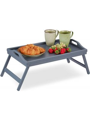 Natural Bamboo Foldable Legs Breakfast in Bed Serving Lap Raised Edge Tray Grey