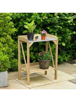 Wooden Garden Potting Bench Outdoor Plant Work Bench Station Greenhouse Flower Table Tool Storage Shelf