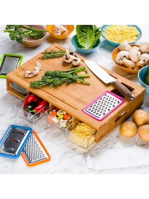 Unibos Bamboo Chopping Board with 4 BPA Free Plastic Drawer/Trays with lids Kitchen Set-100% Natural Robust Bamboo Wood-Wooden Chopping Boards Cutting Board/Chopping Board Set.