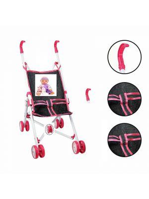 Baby Dolls Pink Buggy Stroller Jogger Dolls Pram Girls Toy