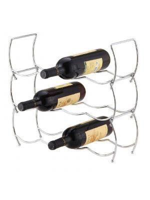 3 Tier Stackable Chrome Wine Storage Rack Holder Up To 12 Bottles