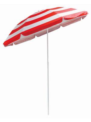 Garden Beach Patio Tilting Tilt Umbrella Parasol Sun Shade Protection UPF40 Red-White Strip 1.7m