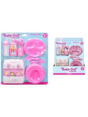 10 Piece Dolly Accessory And Nappy Set - Doll's first Accessories kit