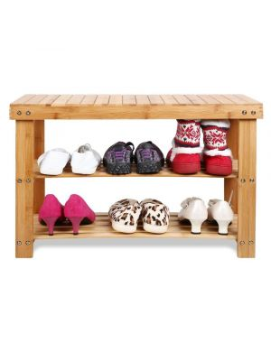 3 Tier Eco-Friendly Bamboo Wood Shoe Organiser Storage and Bench Combination Natural
