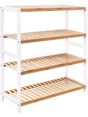 Natural Bamboo 4 Tier Shoe Rack Shelving Stand Plant Rack Storage Organizer